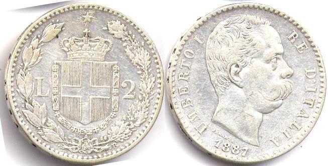 Серебряная монета номиналом 2 лиры времен правления Умберто I 1887 год