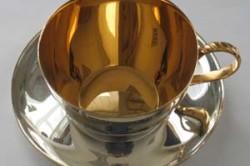 Чашка с блюдцем с напыление серебра золотом
