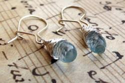 Дизайнерские серебряные серьги с аквамарином