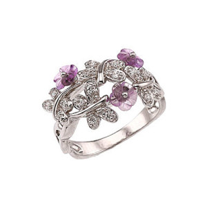 Кольцо с аметистом в серебре