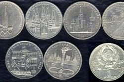 Олимпийские монеты разных стран.