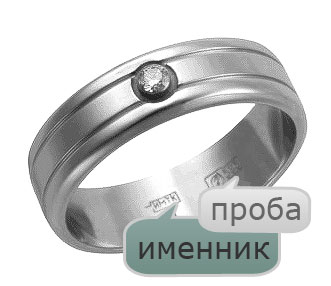 Расположение именника и пробы на кольце