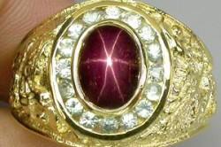 Позолоченное кольцо из серебра 925 пробы со звездчатым рубином