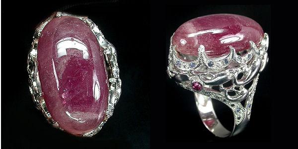 Серебряный перстень с натуральным рубином