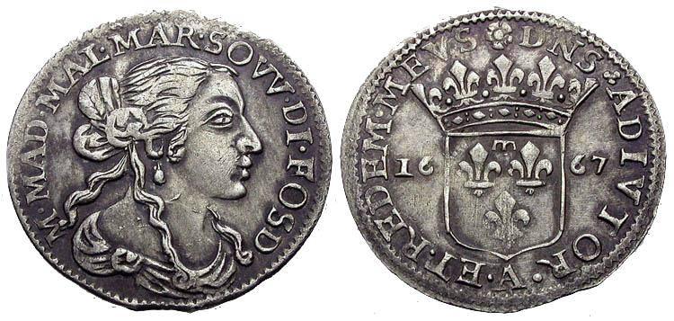 Серебряная монета, Италия 1667 год
