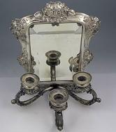 Серебряное зеркало с подсвечниками