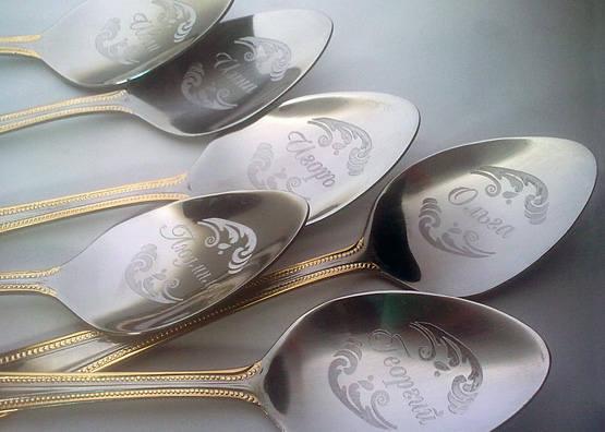 Набор серебряных ложек с гравировкой