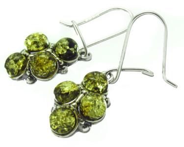 Серьги из серебра с зеленым янтарем