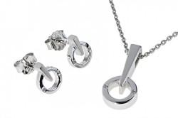 Серебряные серьги и подвеска с бриллиантами