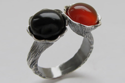 Кольцо с агатом и сердоликом
