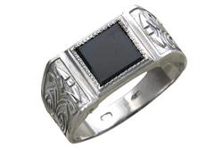 Мужской перстень серебряный с ониксом