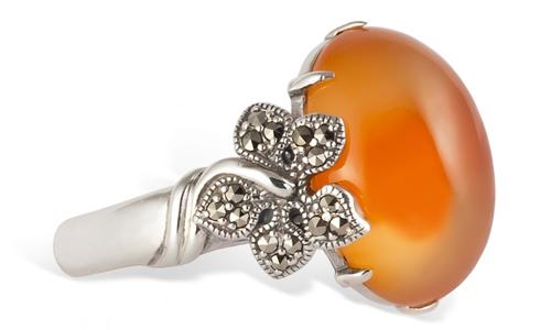 Серебряное кольцо с бразильским сердоликом