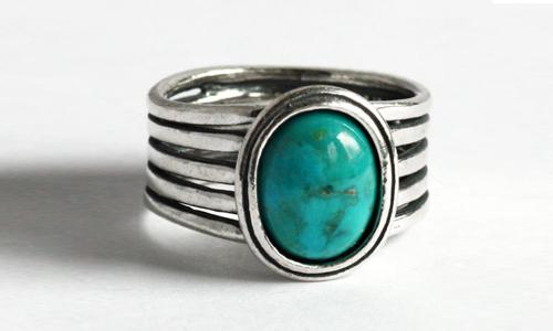 Широкое серебряное кольцо с бирюзой