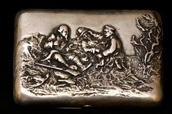 Антикварный портсигар из серебра 84 пробы