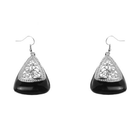 Серьги из серебра с черным камнем