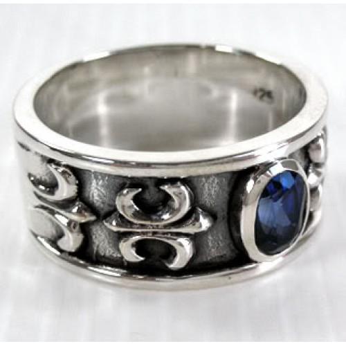 Мужское серебряное кольцо с сапфиром