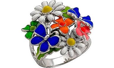 Серебряное кольцо с цветочным мотивом