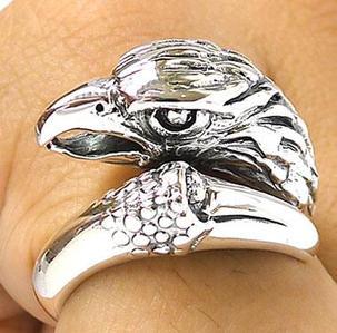 Серебряное кольцо - Голова орла