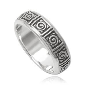 Кольцо мужское серебряное с узором