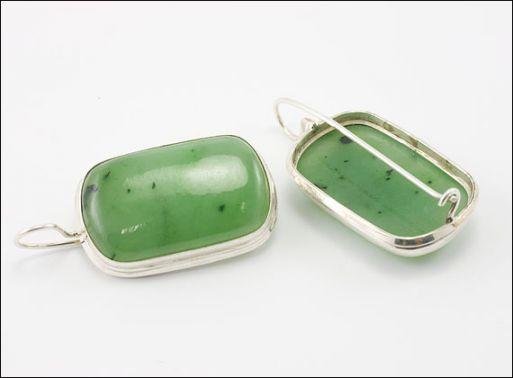 Украшения из серебра с натуральными камнями нефрит