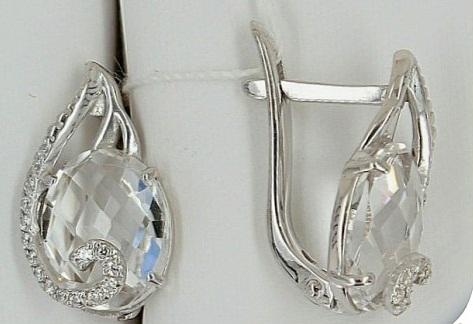 Серебряные серьги с горным хрусталем и фианитами.