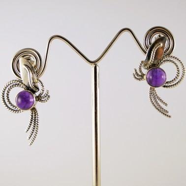 Серебряные сережки с узором