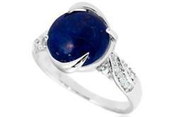Серебряное кольцо простой формы с лазуритом