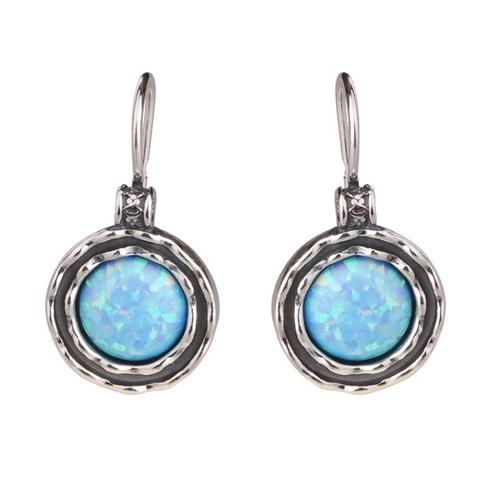Серебряные серьги с голубым изумрудом