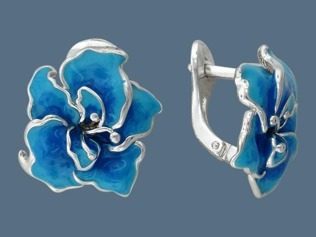 Серьги из серебра с голубой эмалью