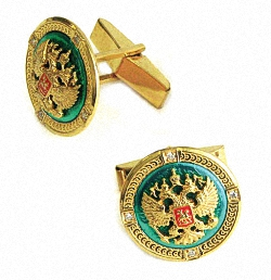 Позолоченные запонки из серебра с гербом России (зеленая эмаль)