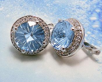 Серебряные серьги с голубым топазом «Феникс»