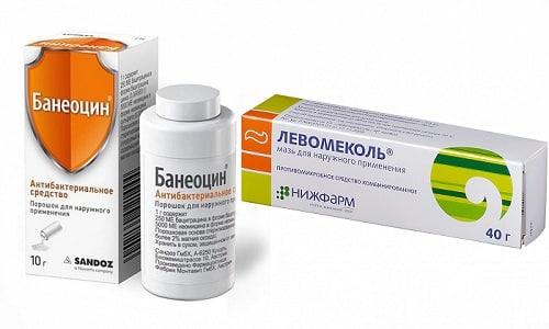 Банеоцин и Левомеколь являются регенерирующими лекарственными средствами, предупреждающими воспаление или нагноение ран и ожогов