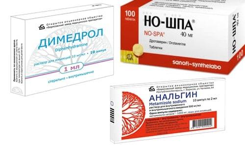 Совместное применение Анальгина, Димедрола и Но-Шпы используется для быстрого снижения пиретической температуры тела и для купирования болевого симптома