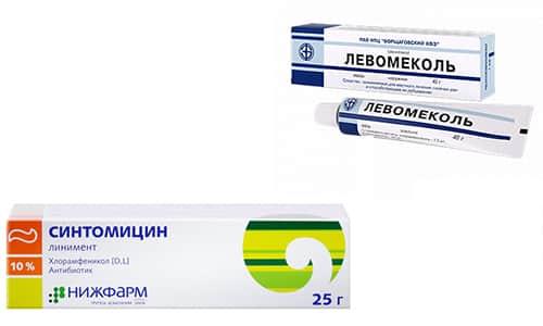 В терапии гнойных ран и кожных повреждений различного характера назначается Левомеколь или Синтомицин